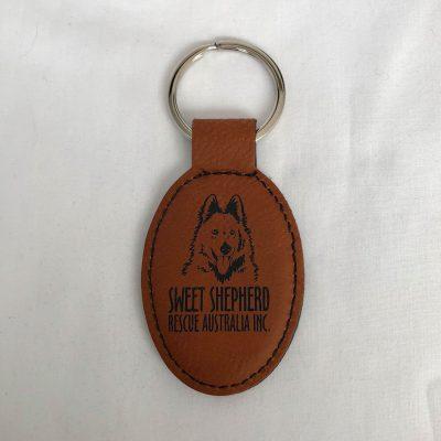 SSRAI Key Ring - Faux Leather Large Tan