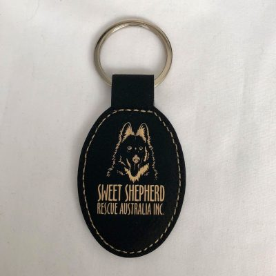 SSRAI Key Ring - Faux Leather Large BLACK/CREAM