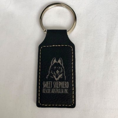 SSRAI Key Ring - Faux Leather Medium BLACK